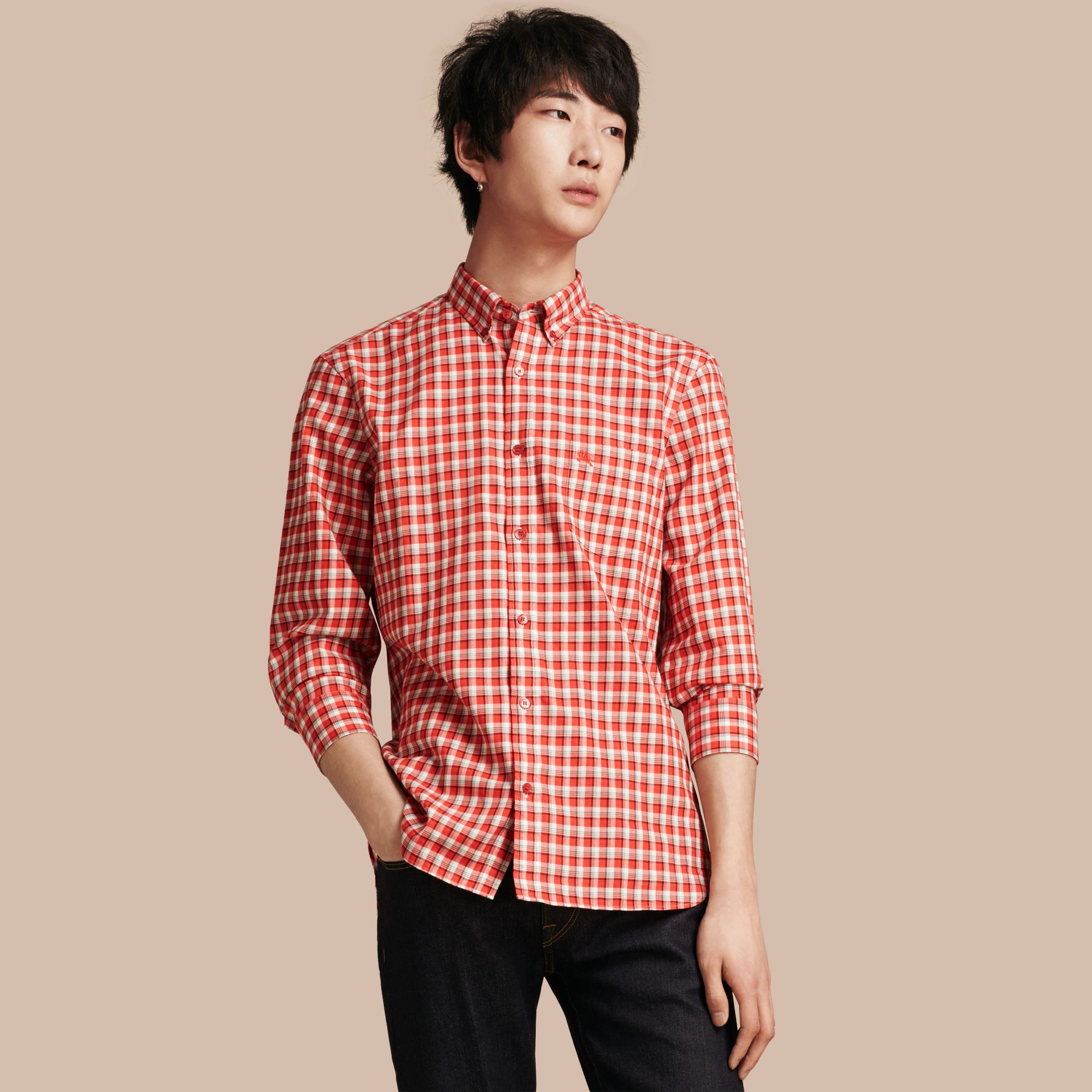 Parade red Gingham Check Cotton Twill Shirt Parade Red - gallery image 1