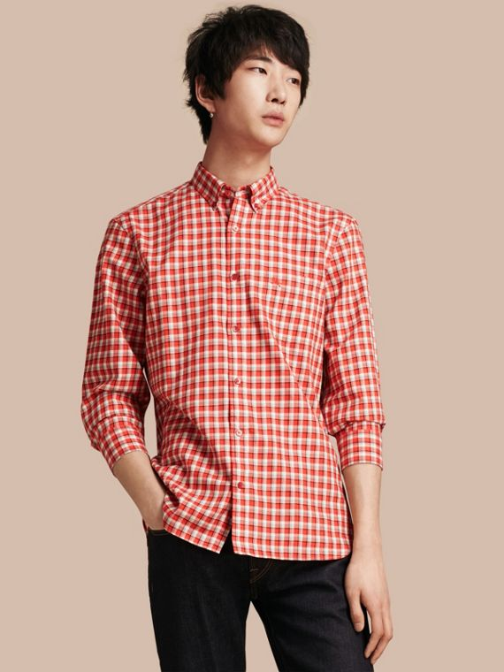 Gingham Check Cotton Twill Shirt