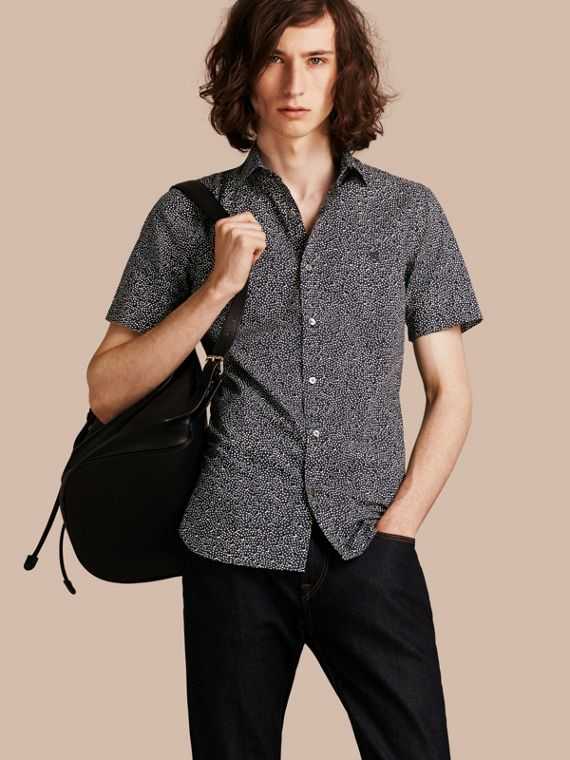 Short-sleeved Dash Print Cotton Shirt Navy