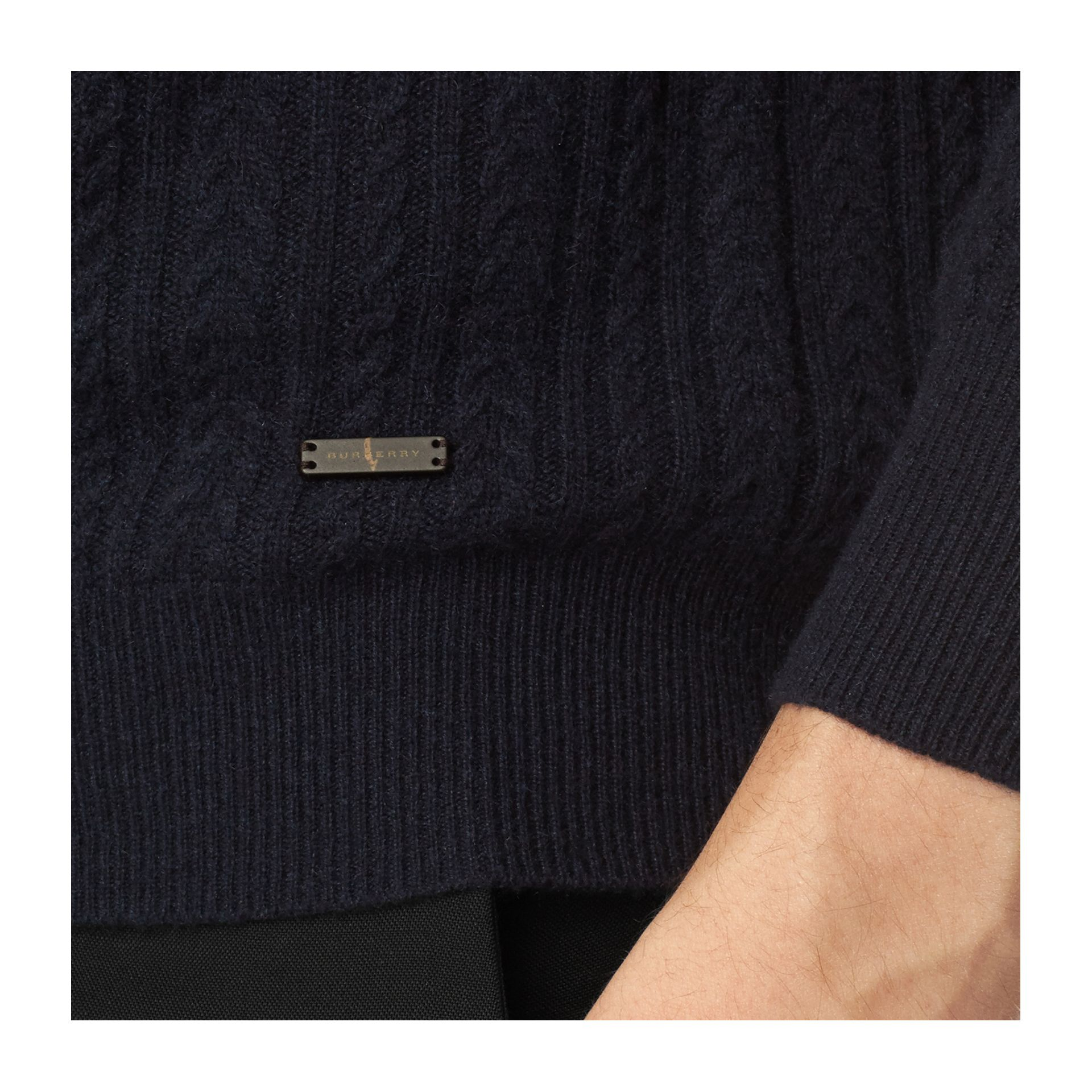 Navy Aran Knit Cashmere Sweater Navy - gallery image 2