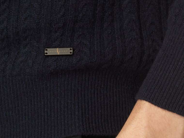 Navy Aran Knit Cashmere Sweater Navy - cell image 1