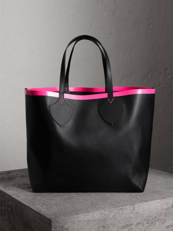 Bolsa tote Giant dupla face de couro e Canvas Check (Preto/rosa Neon)