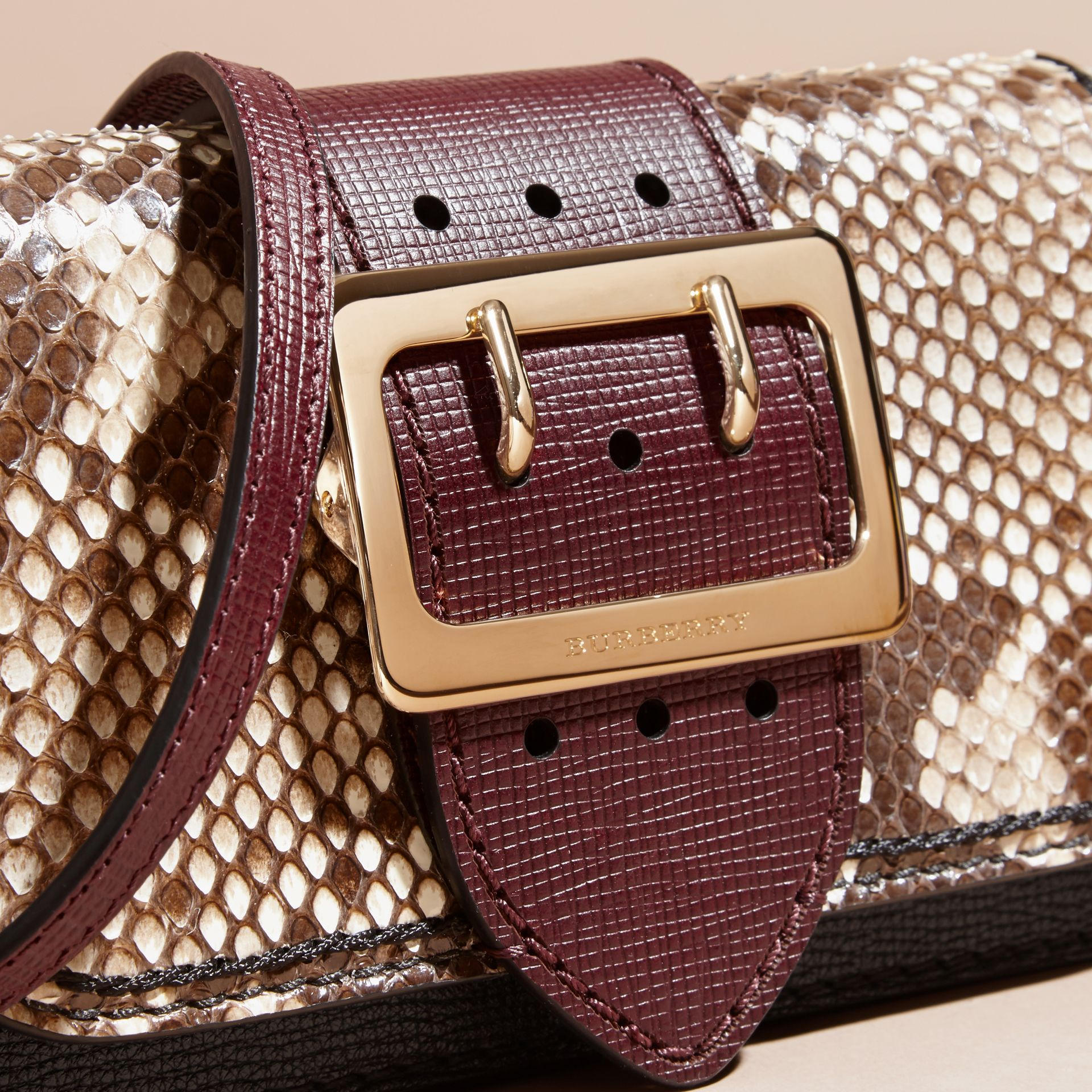 Natural / burgundy The Small Buckle Bag in Python and Leather - gallery image 2