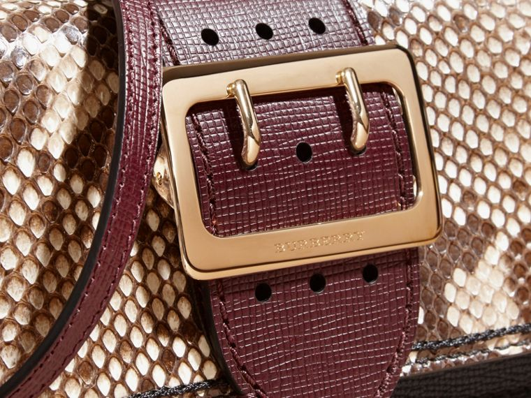 Natural / burgundy The Small Buckle Bag in Python and Leather - cell image 1