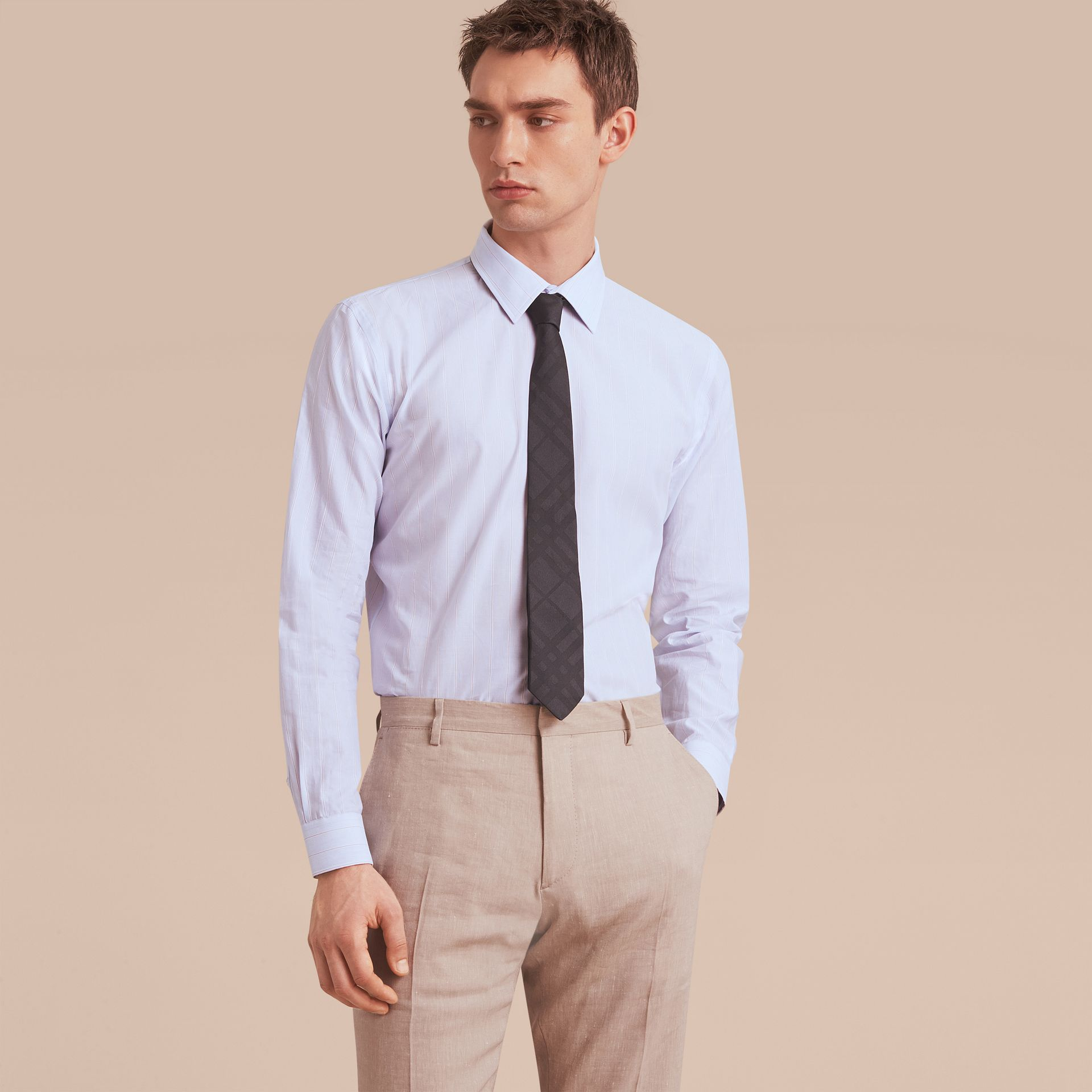 Modern Fit Cotton Linen Striped Shirt in Light Blue - Men | Burberry - gallery image 7