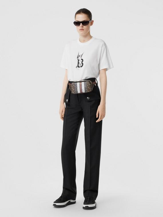 チェラブプリント コットン オーバーサイズTシャツ (ホワイト)