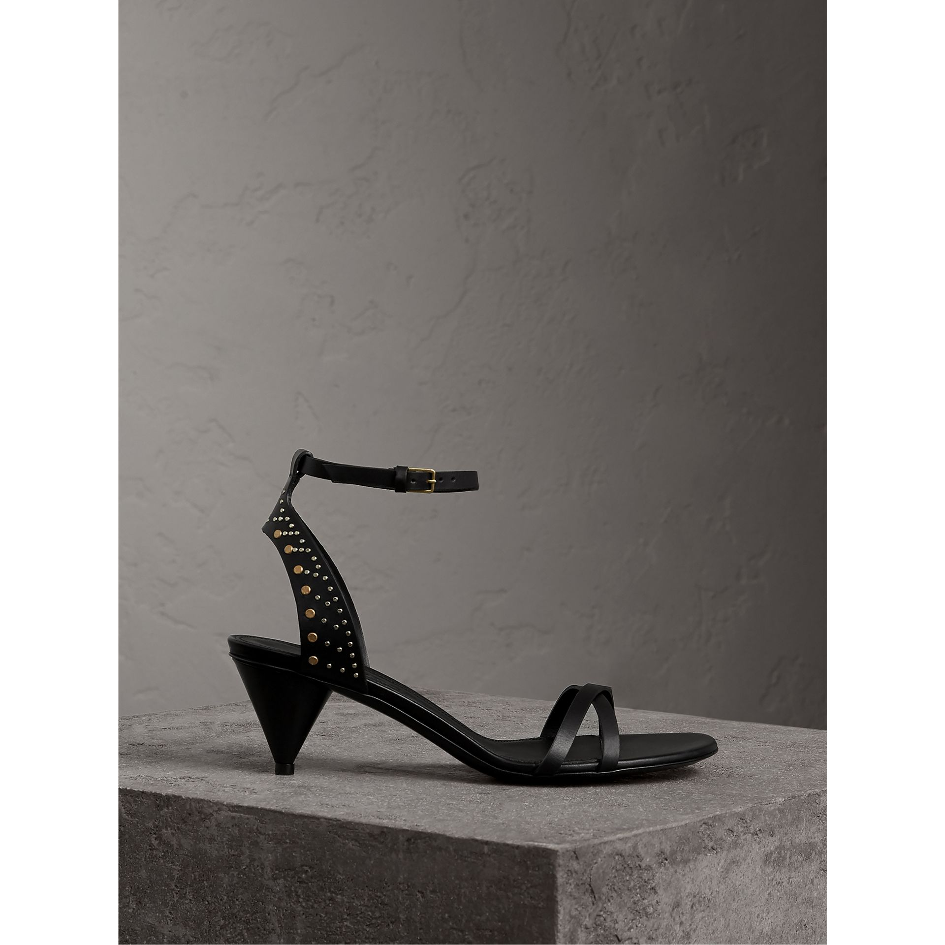 Riveted Leather Cone-heel Sandals in Black - Women | Burberry - gallery image 1