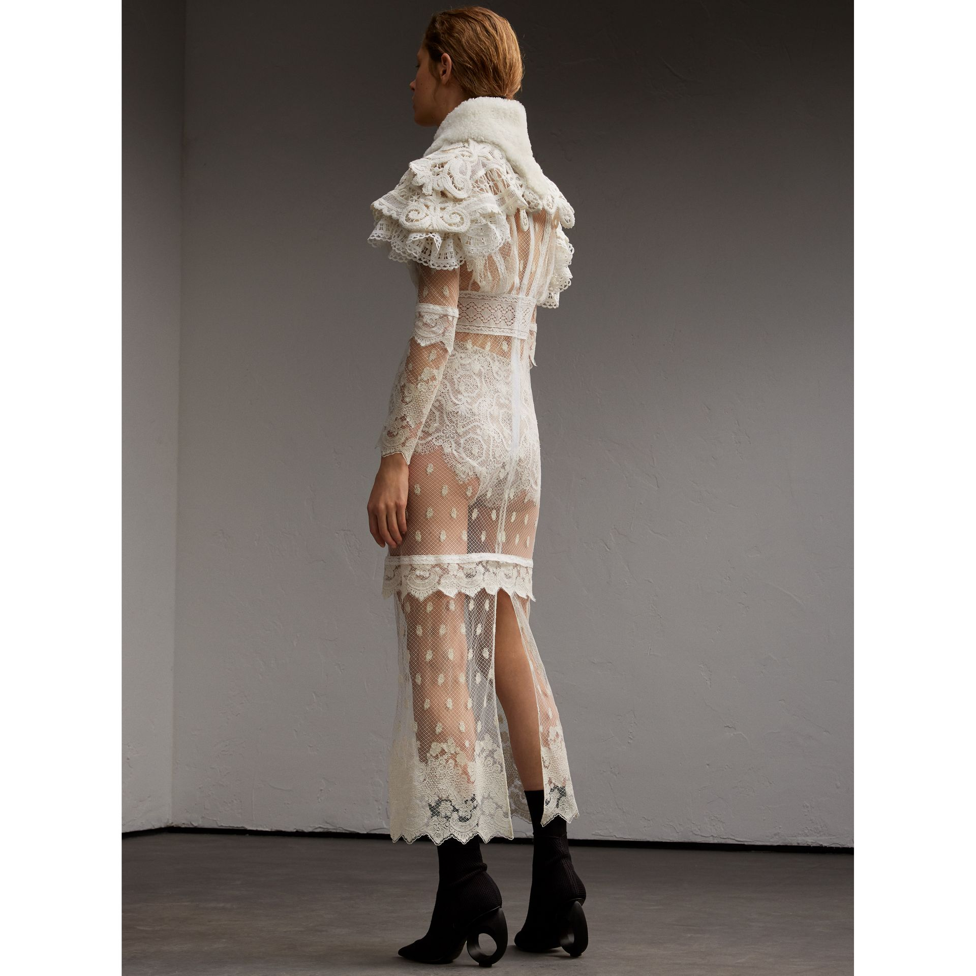Lace Capelet with Shearling Collar in White - Women | Burberry - gallery image 3
