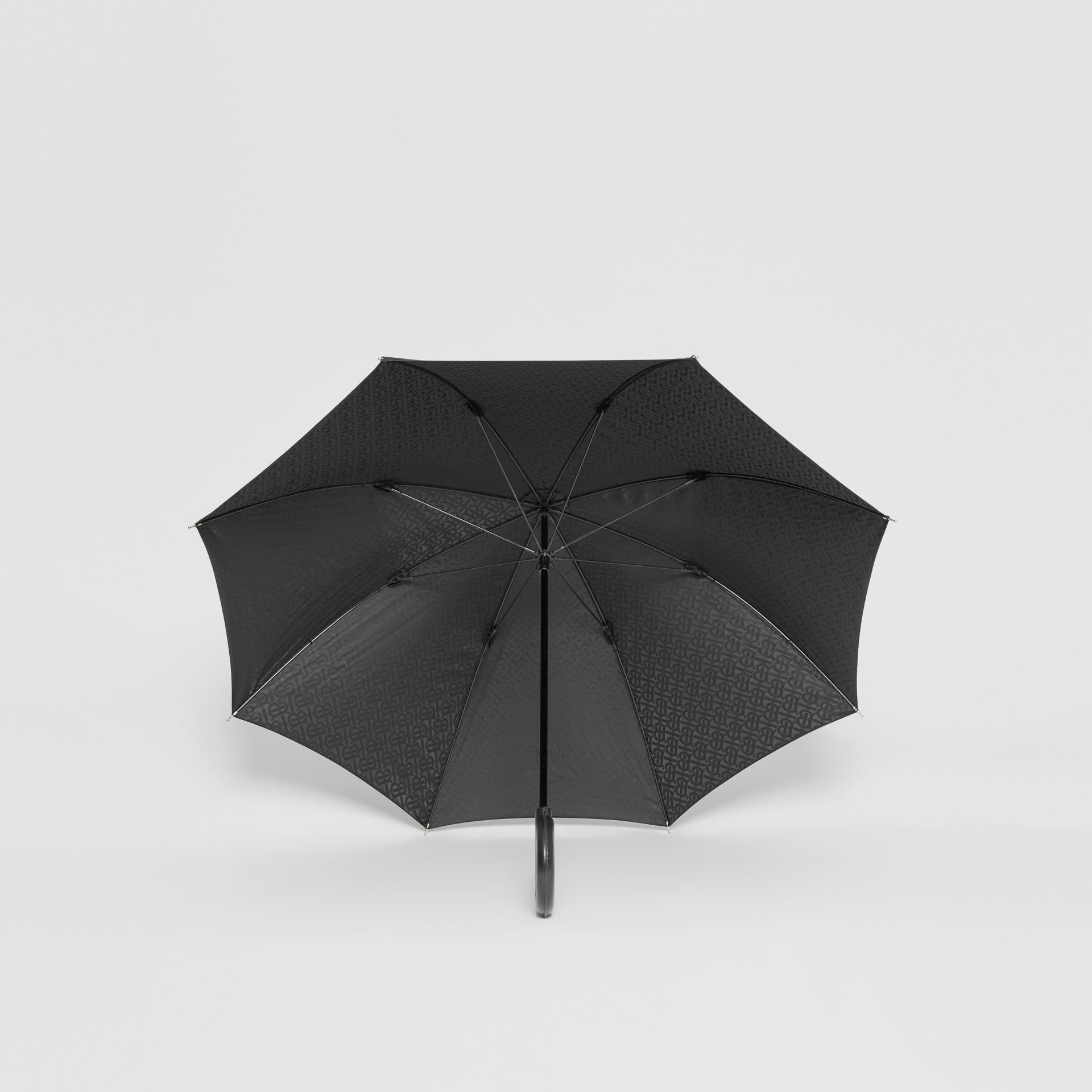 Monogram Print Umbrella in Black | Burberry United States - gallery image 2