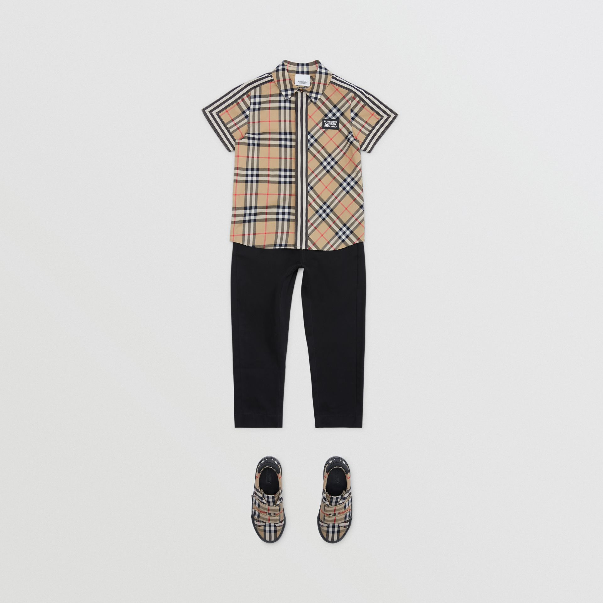 Short-sleeve Vintage Check Patchwork Cotton Shirt in Archive Beige | Burberry United Kingdom - gallery image 2
