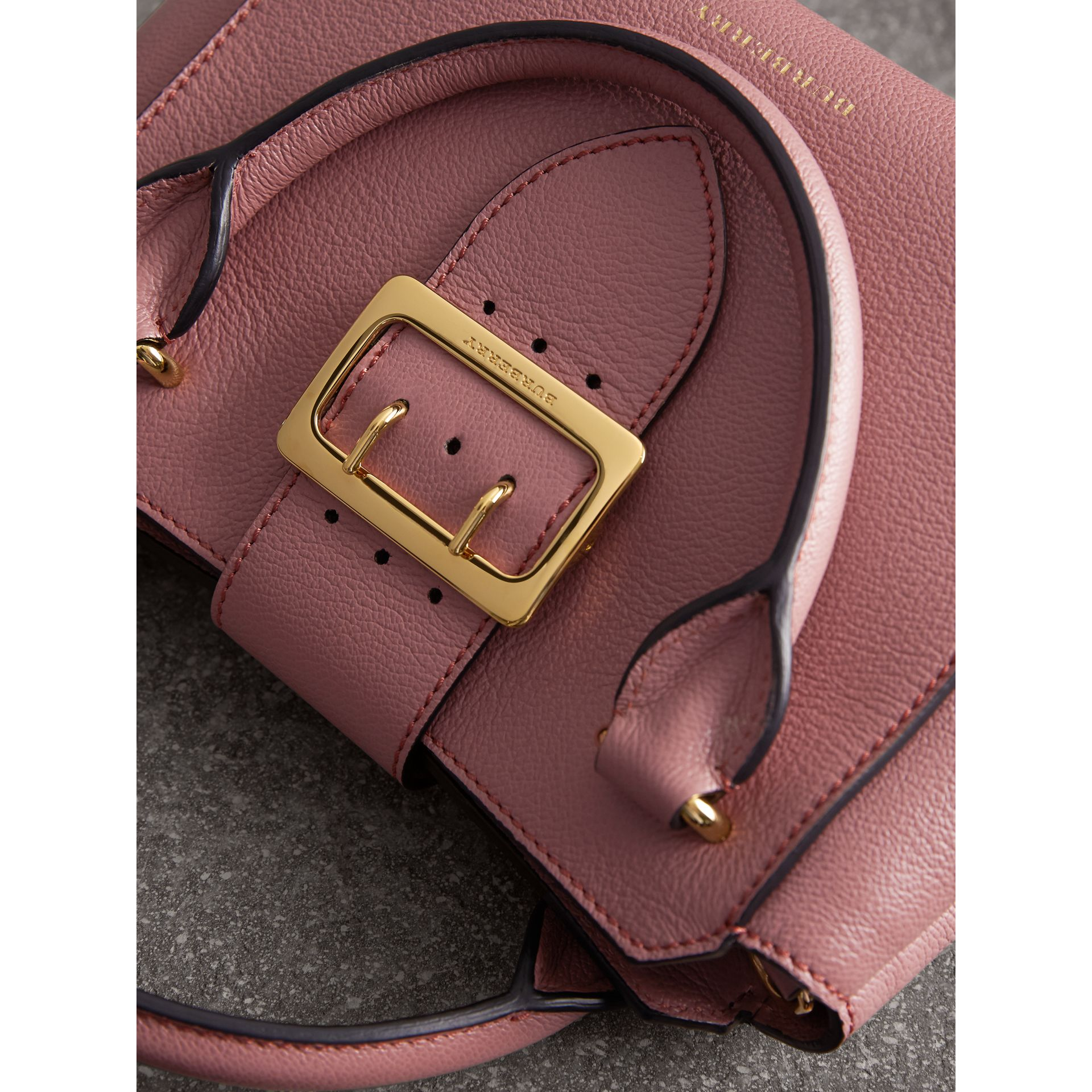 The Small Buckle Tote in Grainy Leather in Dusty Pink - gallery image 2