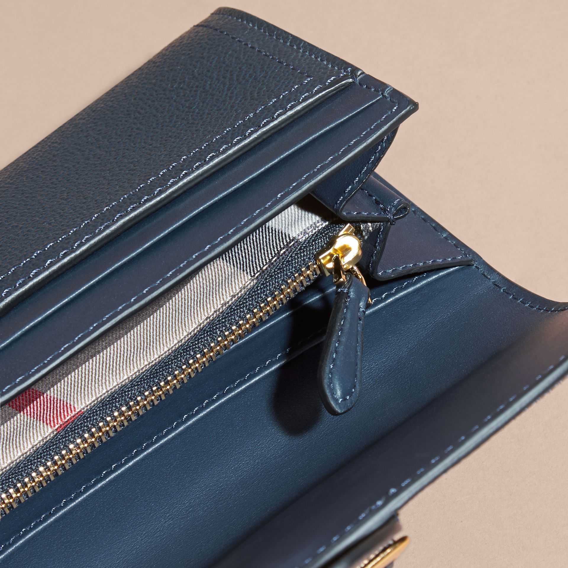 Textured Leather Continental Wallet Blue Carbon - gallery image 5