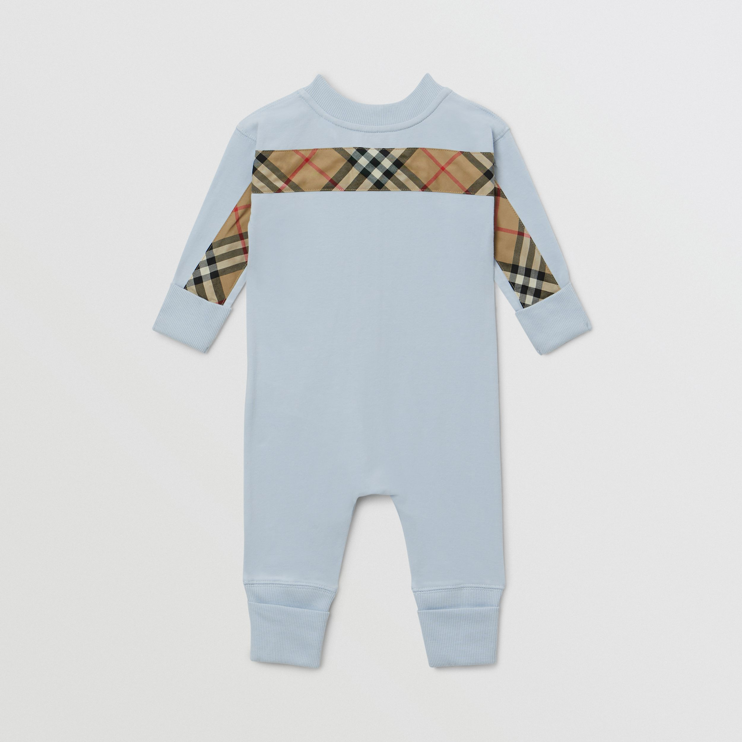 Check Trim Cotton Three-piece Baby Gift Set in Ice Blue - Children | Burberry - 4