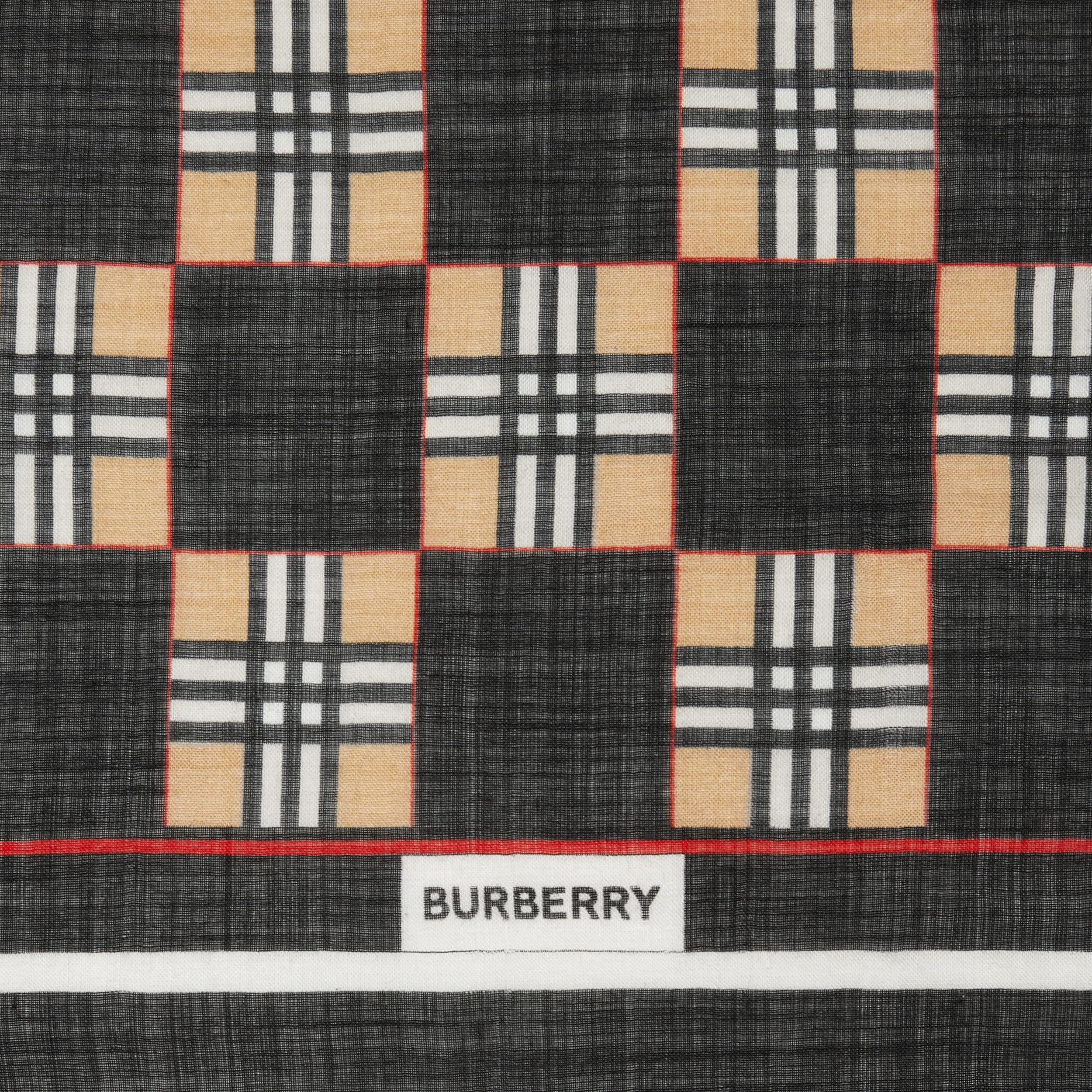 Chequer Print Wool Silk Scarf in Black | Burberry - 2
