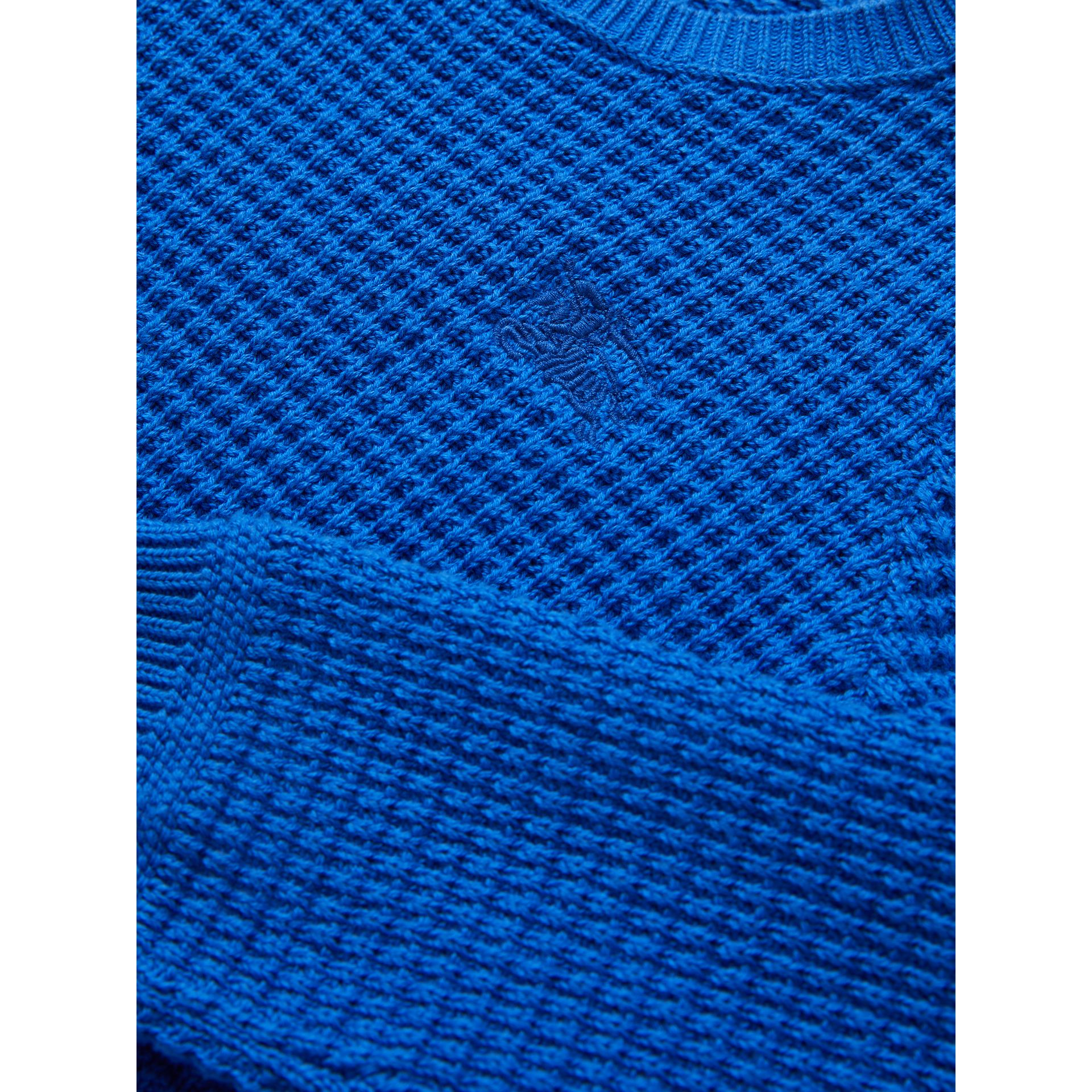 Waffle Knit Cotton Sweater in Cobalt Blue - Boy | Burberry - gallery image 1