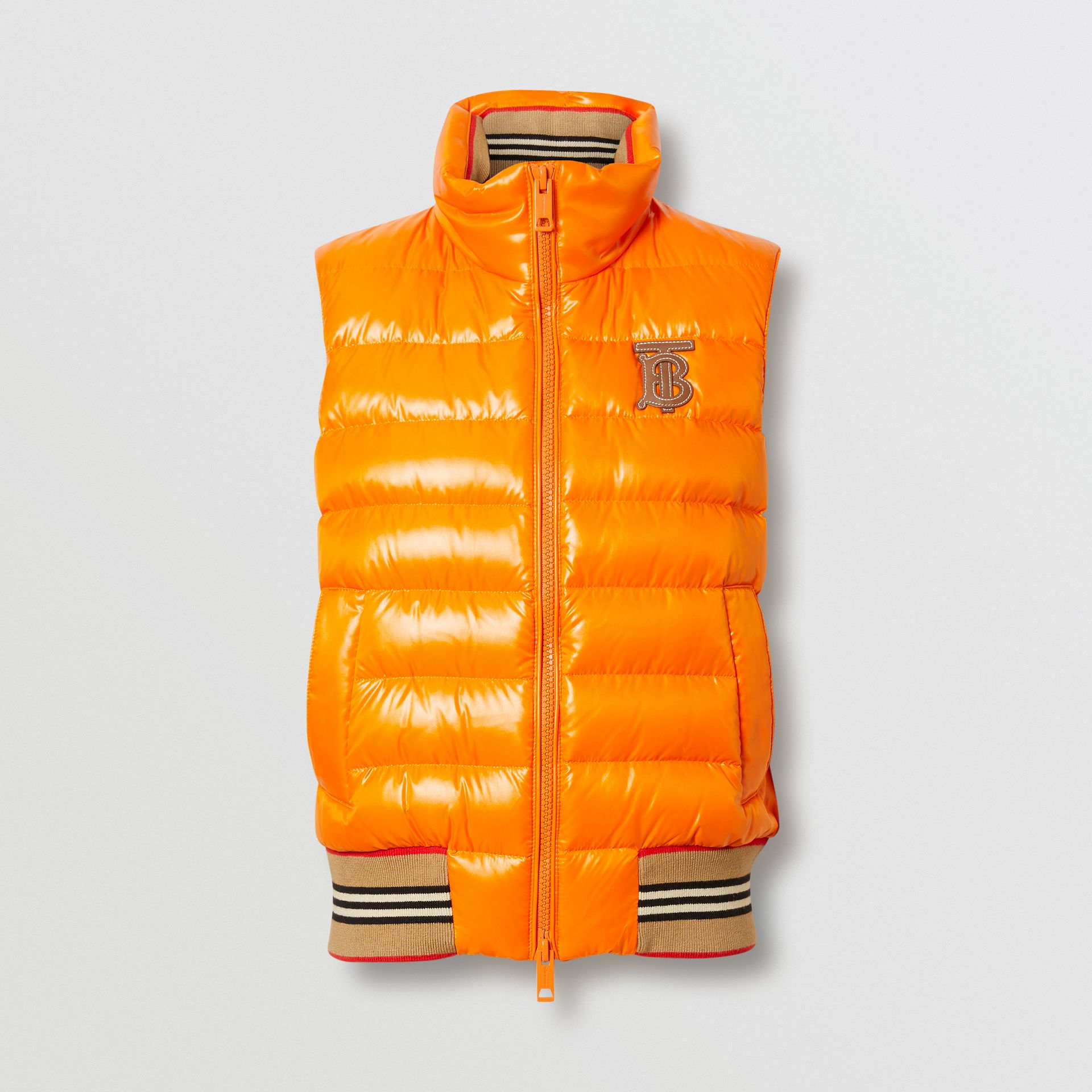 Icon Stripe Detail Down-filled Puffer Gilet in Orange - Women | Burberry Singapore - gallery image 3