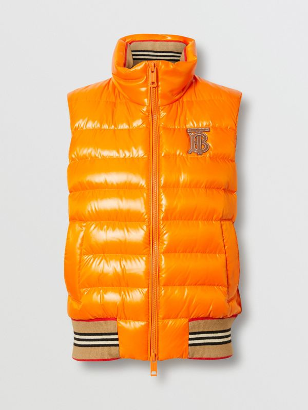 Icon Stripe Detail Down-filled Puffer Gilet in Orange - Women | Burberry Hong Kong - cell image 3