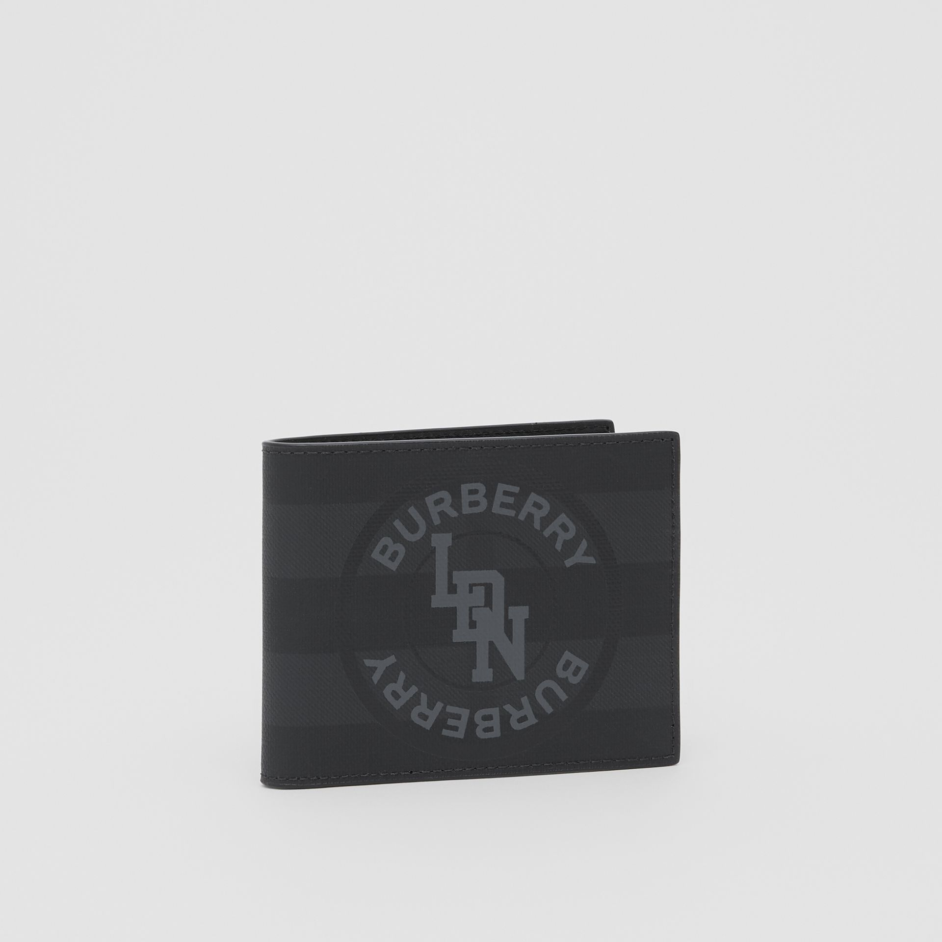 Logo Graphic London Check Bifold Wallet in Dark Charcoal - Men | Burberry United Kingdom - gallery image 3