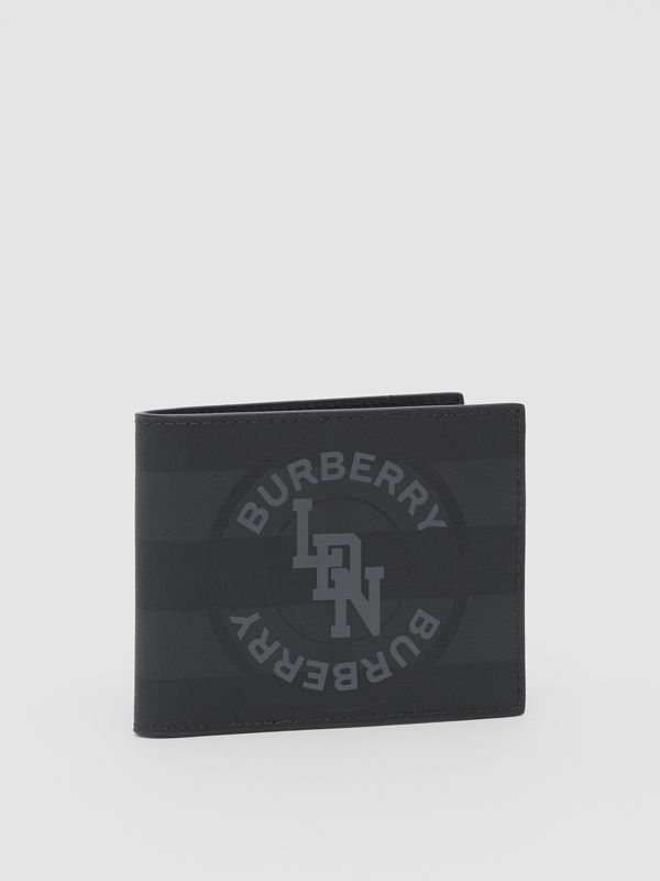 Logo Graphic London Check Bifold Wallet in Dark Charcoal - Men | Burberry United Kingdom - cell image 3