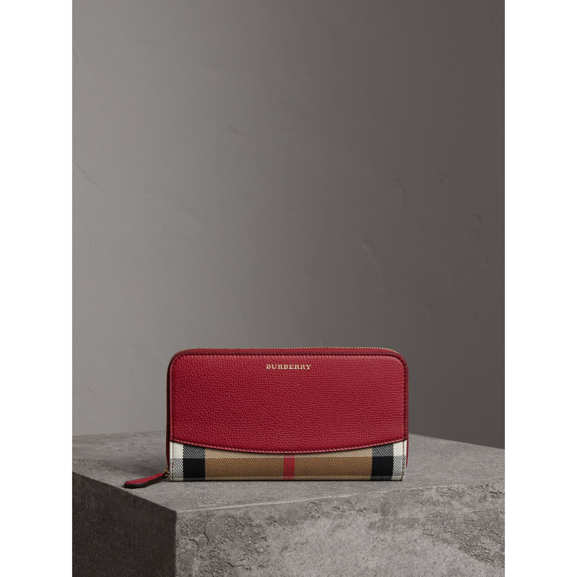 House Check and Leather Ziparound Wallet in Military Red - Women | Burberry - gallery image 5