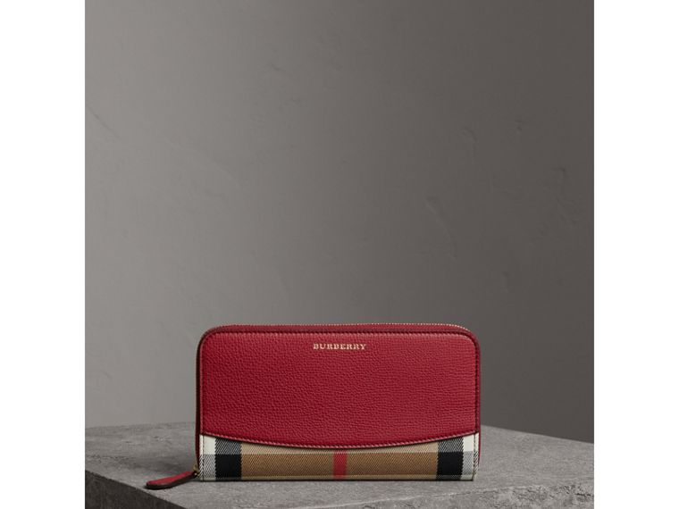 House Check and Leather Ziparound Wallet in Military Red - Women | Burberry Australia - cell image 4