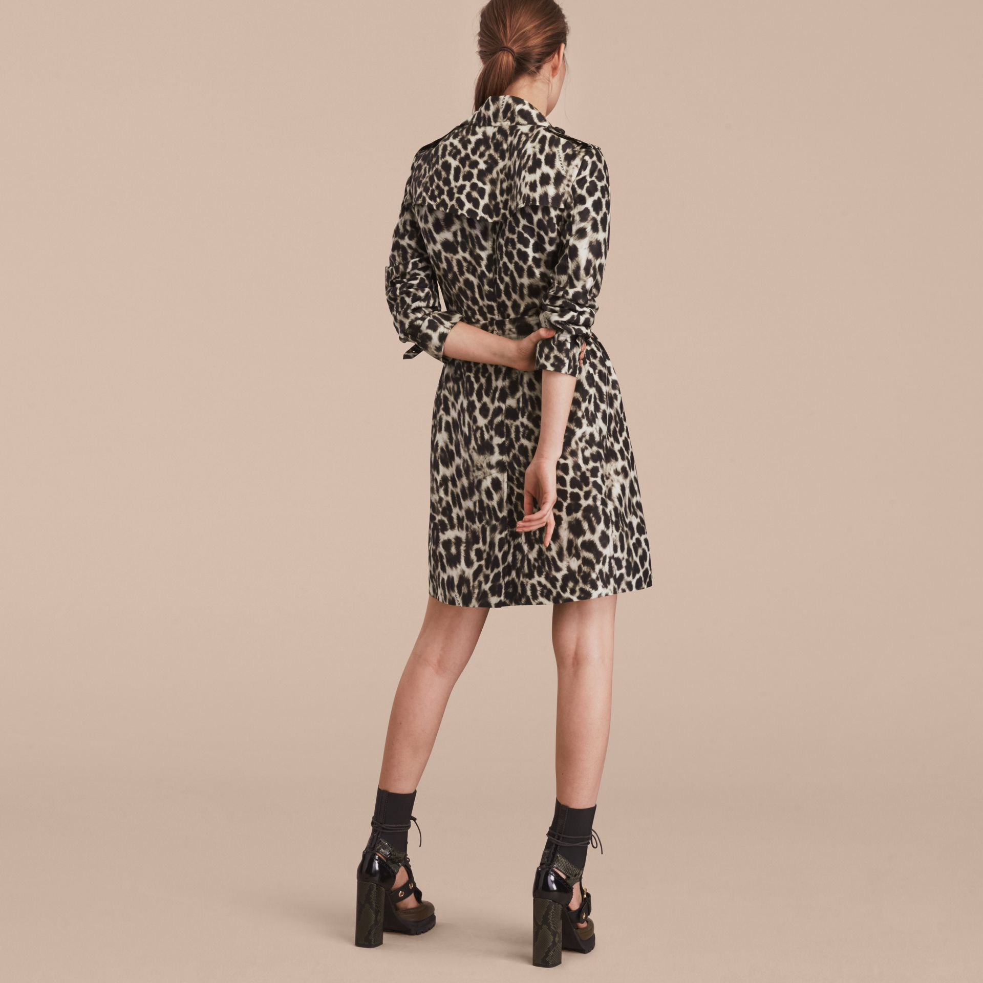 Animal Print Silk Trench Coat - gallery image 3