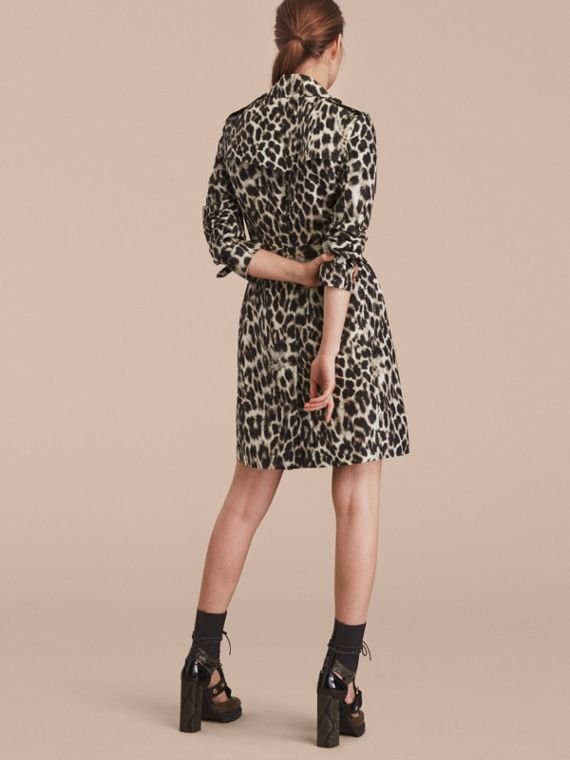 Animal Print Silk Trench Coat - cell image 2