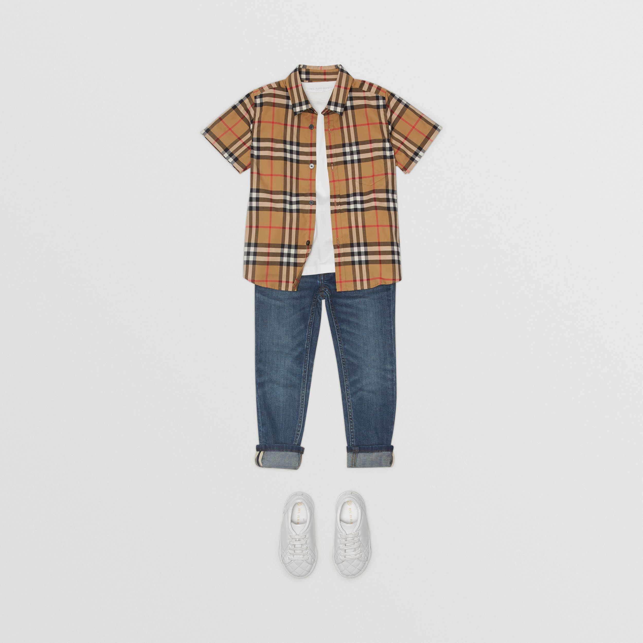 Short-sleeve Vintage Check Cotton Shirt in Antique Yellow - Boy | Burberry - 3