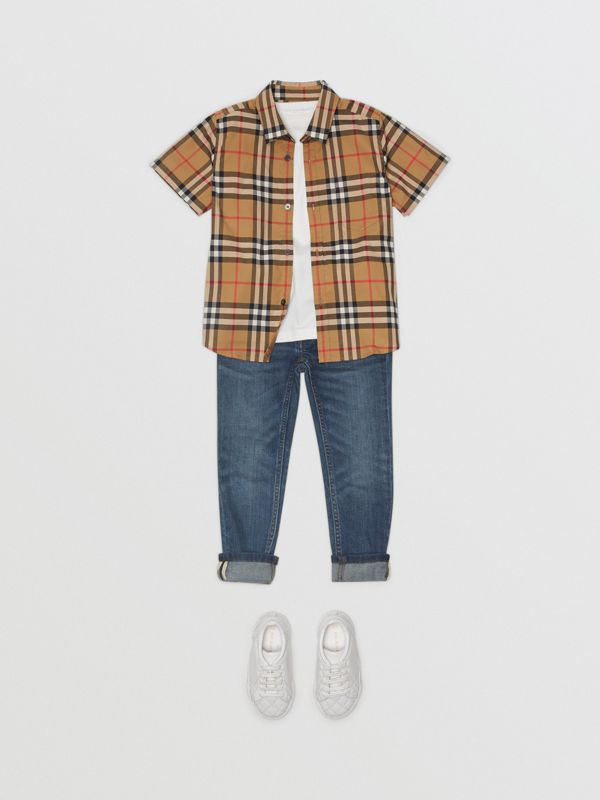 Short-sleeve Vintage Check Cotton Shirt in Antique Yellow | Burberry United Kingdom - cell image 2