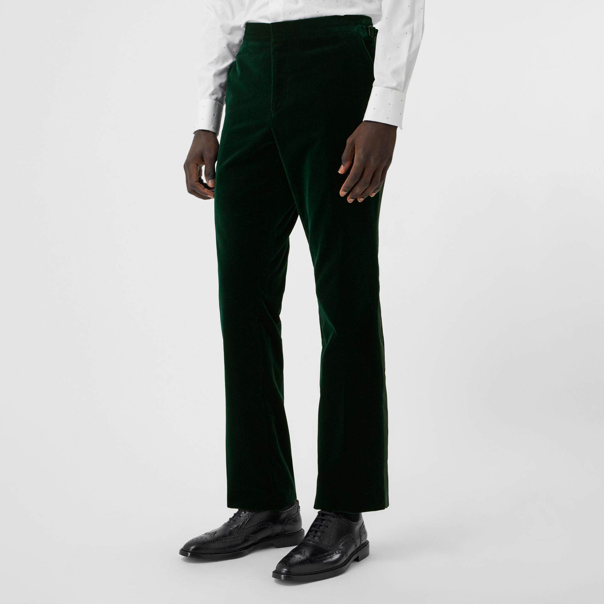 Classic Fit Silk Trim Velvet Tailored Trousers in Dark Pine Green - Men | Burberry - gallery image 4