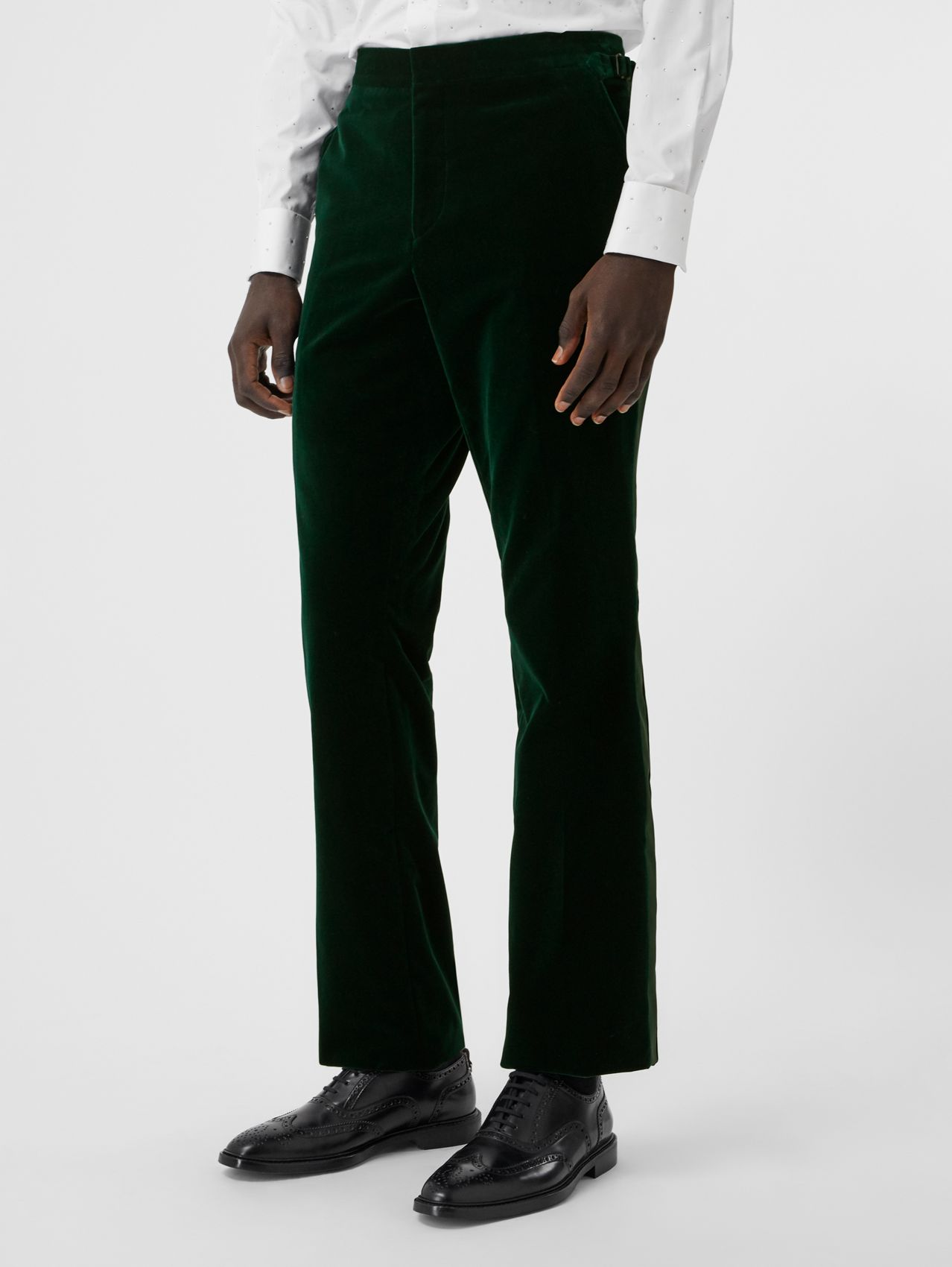 Classic Fit Silk Trim Velvet Tailored Trousers (Dark Pine Green)