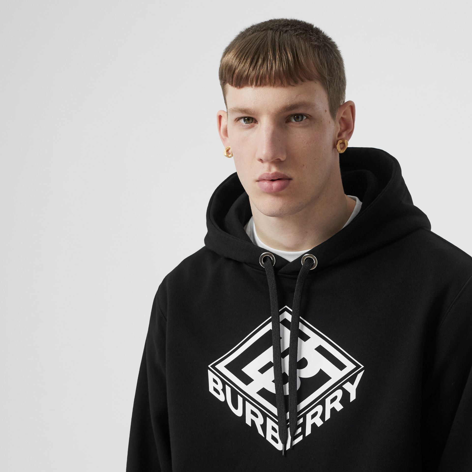 Logo Graphic Cotton Hoodie in Black - Men | Burberry Hong Kong S.A.R - gallery image 5