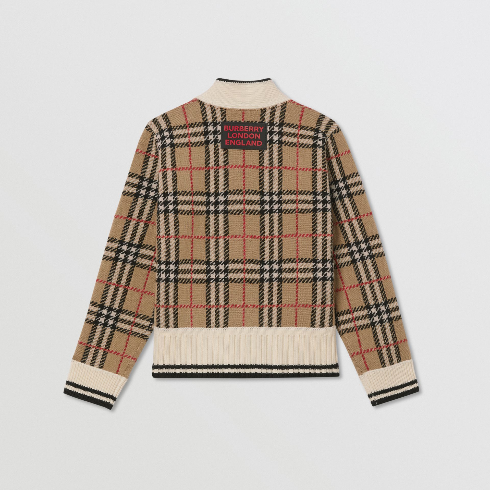 Check and Leopard Merino Wool Jacquard Cardigan in Print | Burberry - gallery image 3