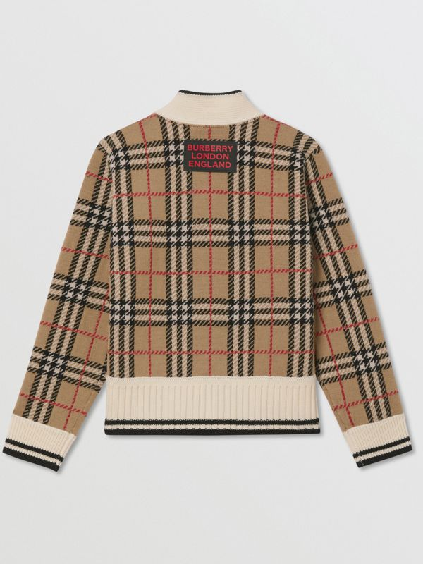 Check and Leopard Merino Wool Jacquard Cardigan in Print | Burberry - cell image 3
