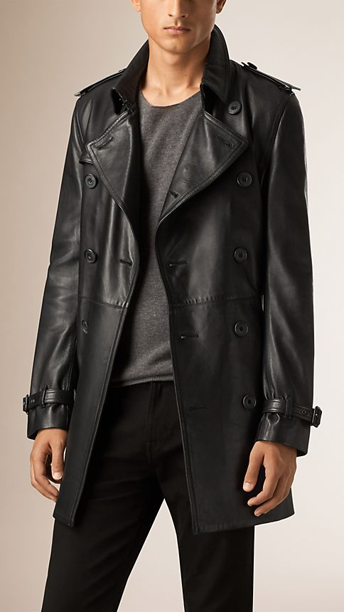 Black Nappa Leather Trench Coat - Image 1