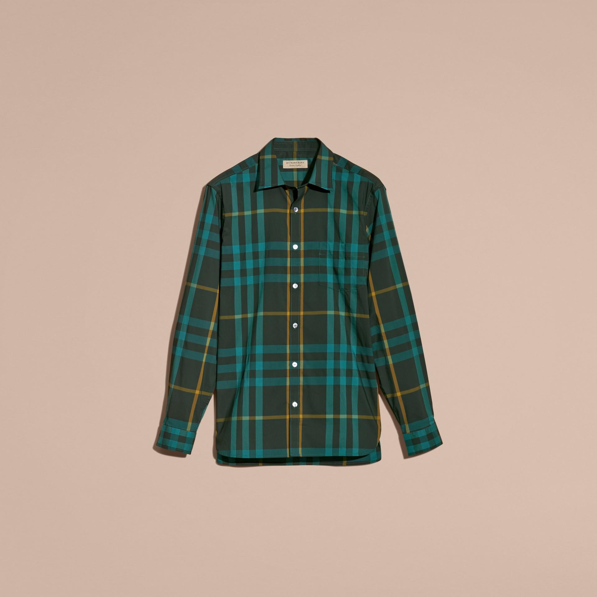 Camicia in cotone stretch con motivo tartan Turchese Scuro - immagine della galleria 4