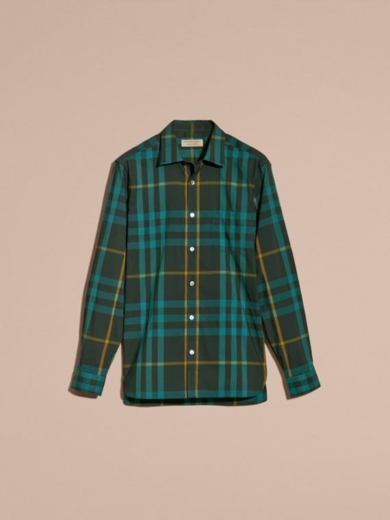 Camicia in cotone stretch con motivo tartan Turchese Scuro - cell image 3