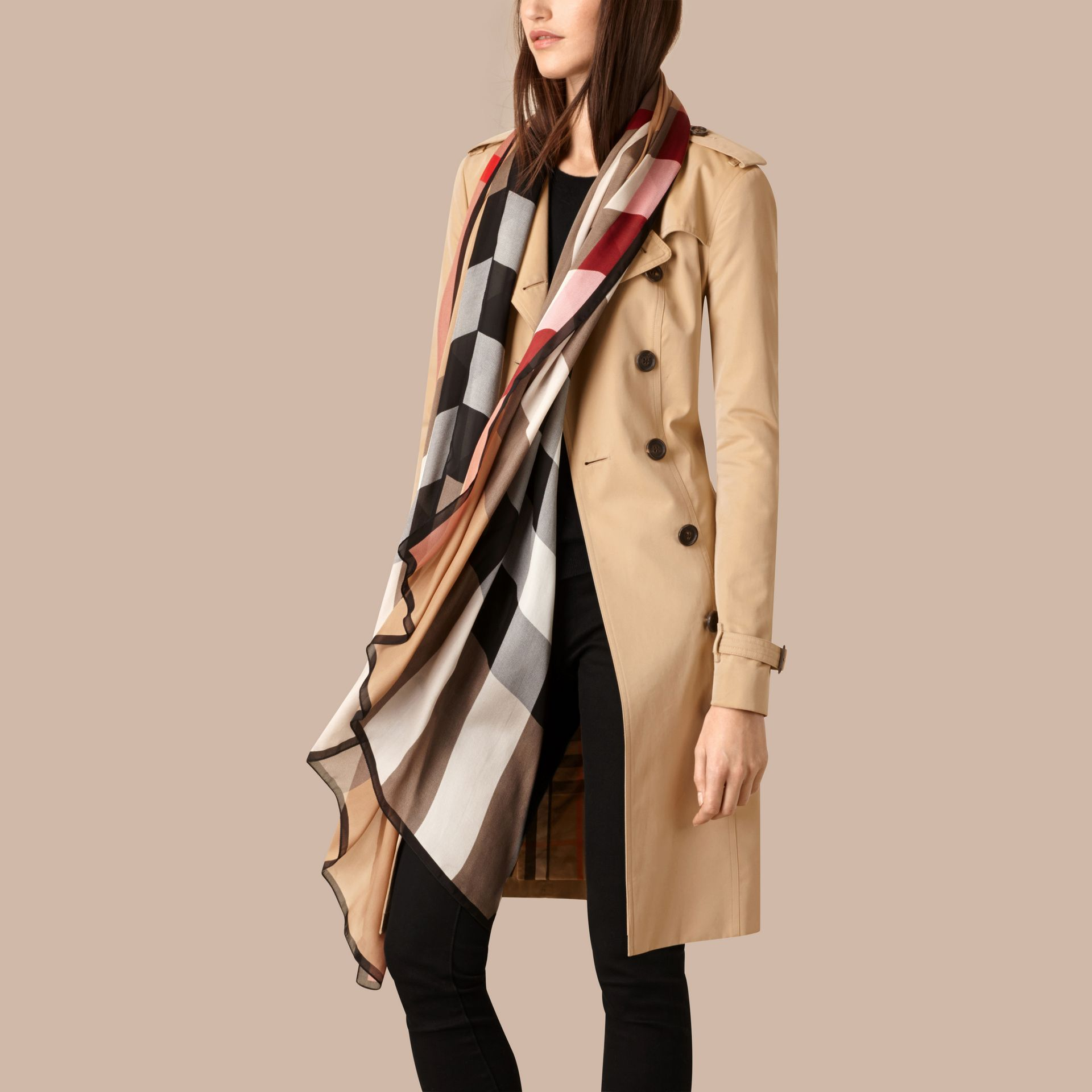 Lightweight Check Silk Scarf in Camel - gallery image 3