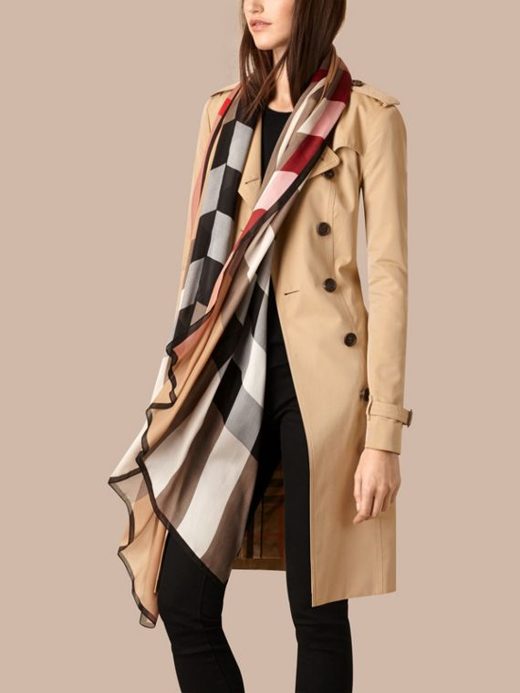 Lightweight Check Silk Scarf in Camel - Women | Burberry - cell image 2