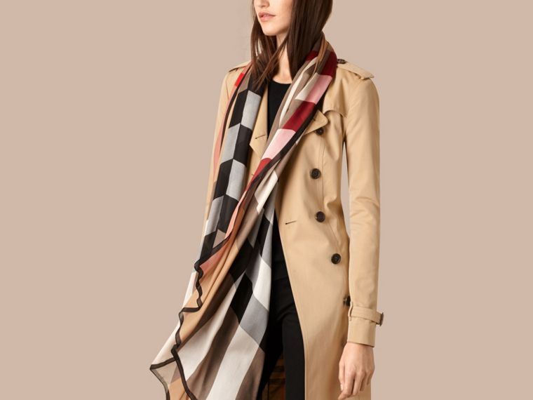 Lightweight Check Silk Scarf in Camel - Women | Burberry Hong Kong - cell image 2