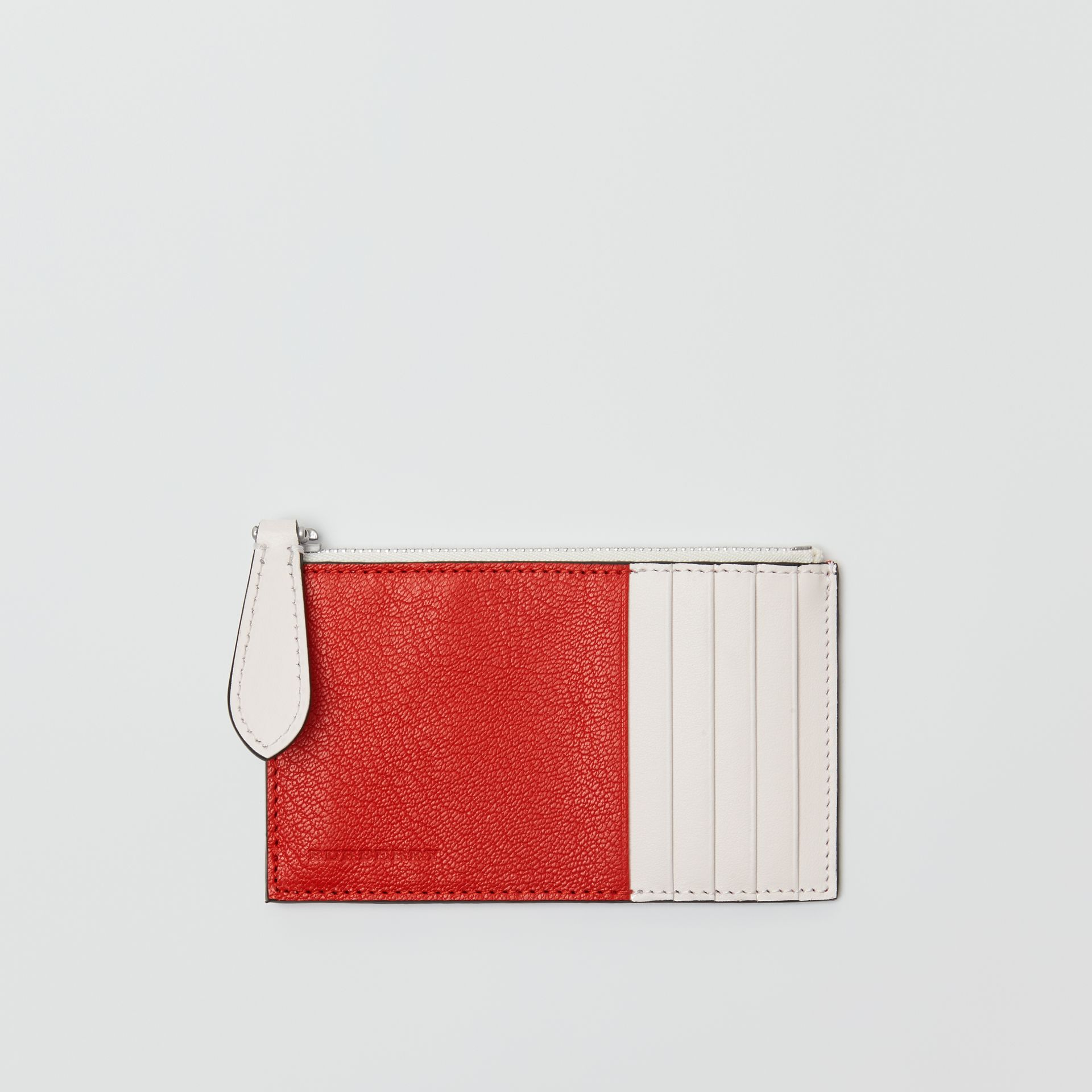 Two-tone Leather Zip Card Case in Bright Red | Burberry - gallery image 0