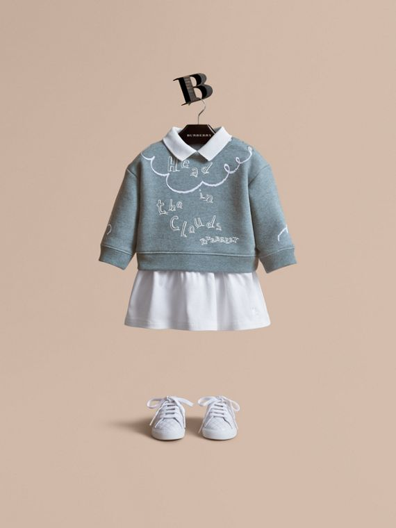 Sweat-shirt en coton avec imprimé Head in the Clouds (Bleu Poudré)