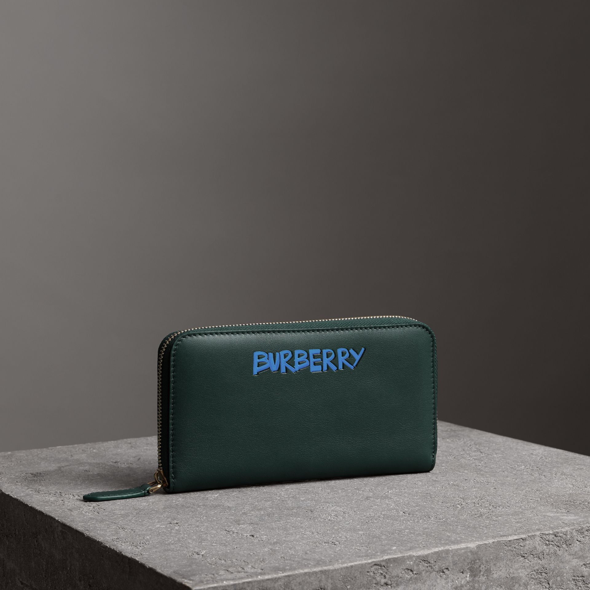 Graffiti Print Leather Ziparound Wallet in Deep Bottle Green - Men | Burberry - gallery image 0