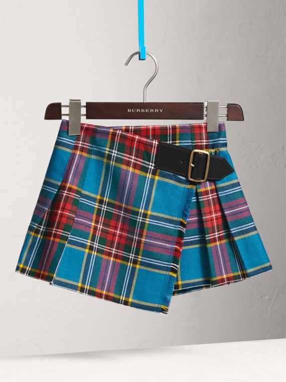 Raw Edge Detail Tartan Wool Kilt in Cyan Blue - Girl | Burberry - cell image 2