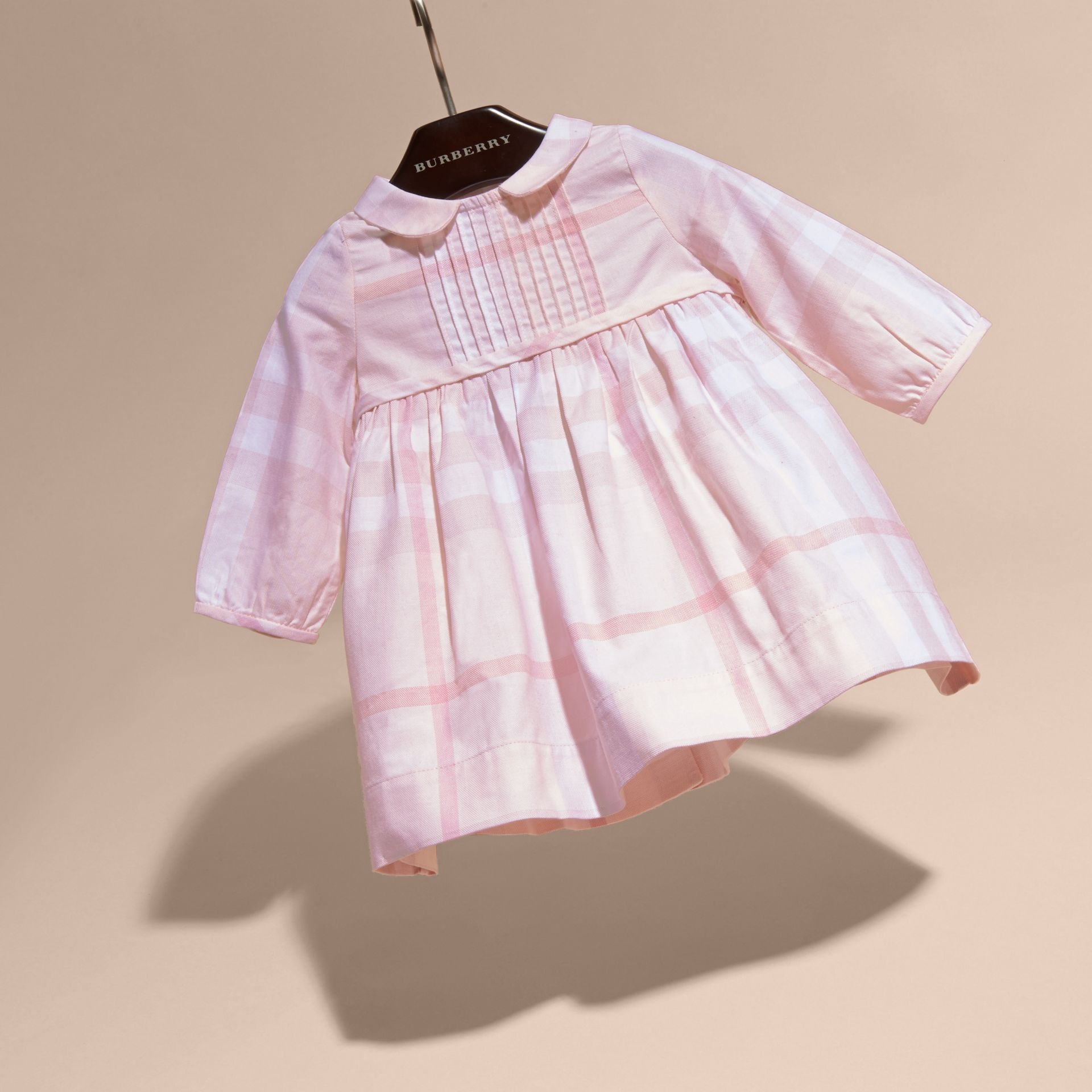 Ice pink Long-sleeved Pintuck Detail Washed Check Cotton Dress Ice Pink - gallery image 3