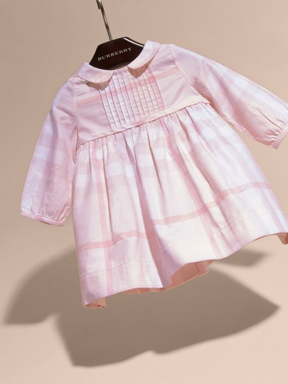 Ice pink Long-sleeved Pintuck Detail Washed Check Cotton Dress Ice Pink - cell image 2