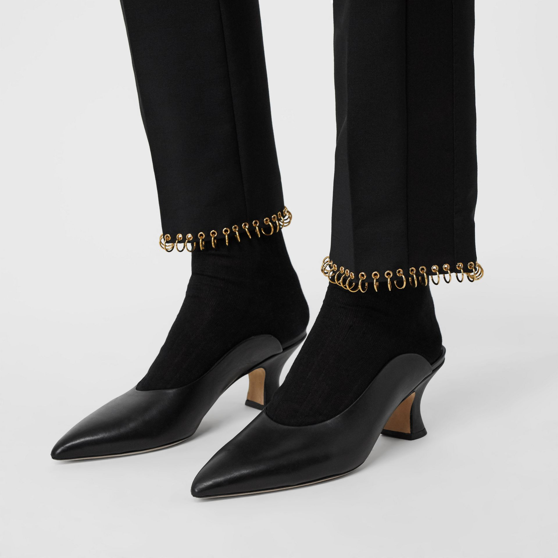 Ring-pierced Wool Tailored Trousers in Black - Women | Burberry Australia - gallery image 1