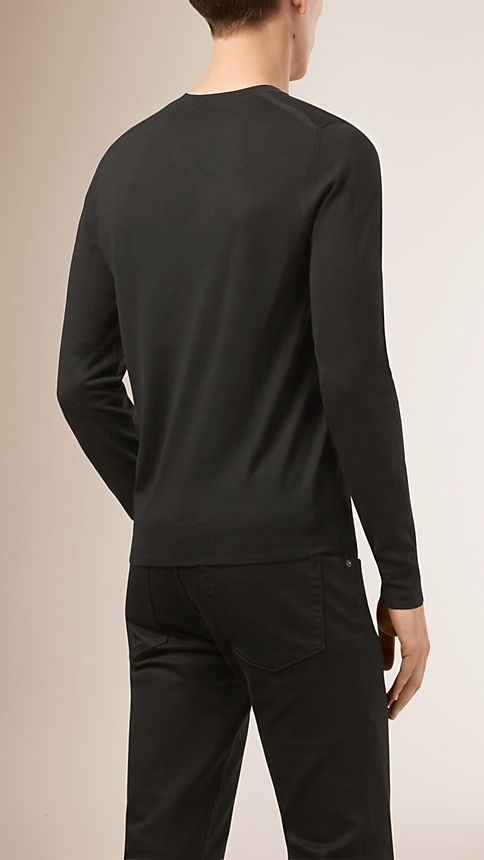 Black Crew Neck Merino Wool Sweater - Image 2