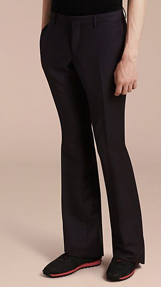 Wide Leg Mohair Wool Tailored Trousers