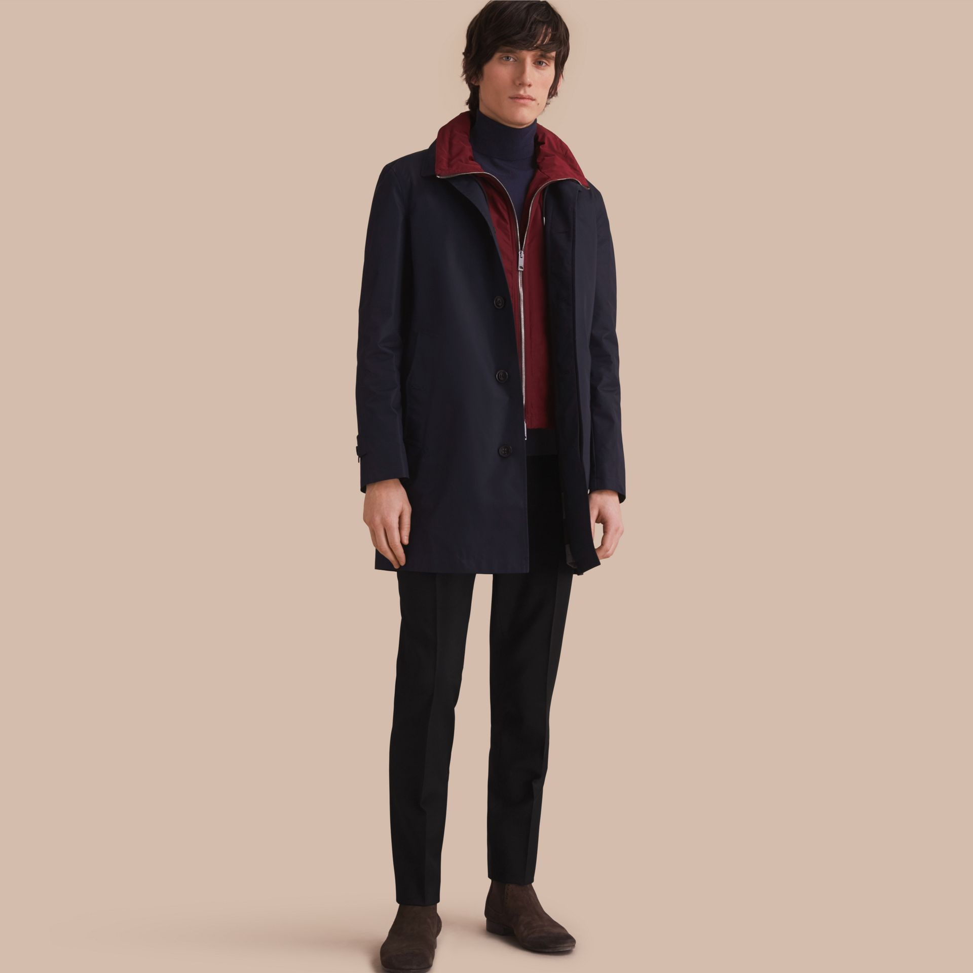 Lightweight Cotton Car Coat with Detachable Gilet Navy - gallery image 1